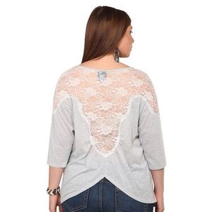 Torrid Grey Striped Lace And Tulip Back Dolman Top